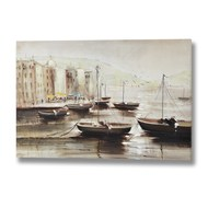 Moored boats at dusk hand painted canvas