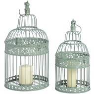 Duck  Egg  Blue  Metal  Birdcages  -  Set  Of  Two