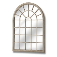 Rustic arched garden window mirror