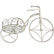 Antique white iron bicycle flower stand