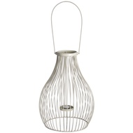 Antique white iron woven teardrop lantern