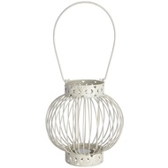 Antique white iron woven round lantern