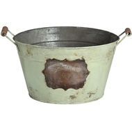 Green Vintage Bucket with two handles