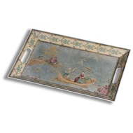 Blue oriental large rectangular tray