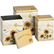 Sunflower  Storage  Tin  -  Set  Of  Three