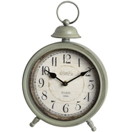 Grey round mantel clock with small bell decoration
