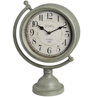 Grey round mantel clock on globe frame