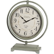 Large grey round mantel clock on metal stand