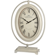 Large cream oval mantel clock on metal stand