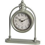 Grey  Round  Pocket  Watch  Style  Mantel  Clock  On  Stand