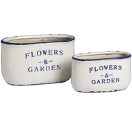 Set of Two Ceramic Flowers and Gardens Oval Planters