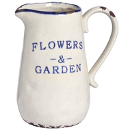 Small Ceramic Blue and White Flowers and Garden Jug