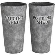 Set of two tall ceramic Potting Shed planters