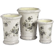 Set of three green floral tall ceramic planters