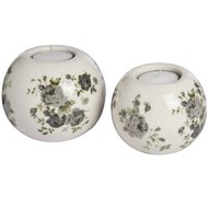 Set of two ceramic ball shaped tea light holders - rose