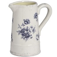 Blue and white floral ceramic jug