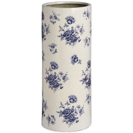 Blue and white floral ceramic umbrella stand