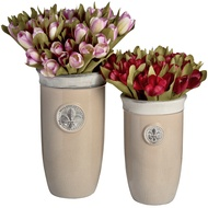 Set of two tall ceramic Fleur de Lys planters