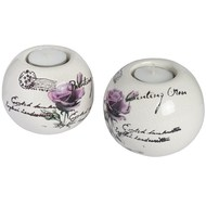 Set  Of  Two  Ceramic  Ball  Tea-light  Holders  -  Green  Floral