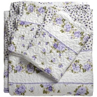 Lilac floral bedspread and pillowcase set