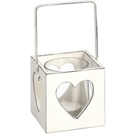 White Tea Light Holder with Heart