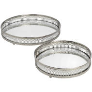 Set Of 2 Circular Nickle tray
