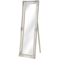 Ornate French Style Antique White Mirror