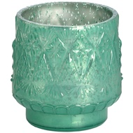 Green glass tea light holder