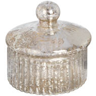 Small round silver glass decorative box