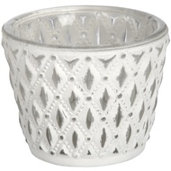 White glass tea light holder