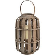 Wooden lantern for LED candle with rope handle