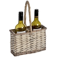 Lined wicker 2 bottle wine carrier