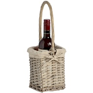 Lined wicker wine bottle holder