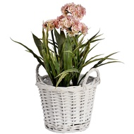 White wicker plant holder