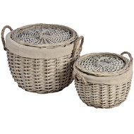 Set of 2 round lined wicker baskets