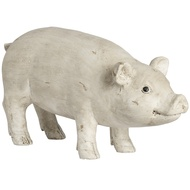 Distressed White Resin Pig