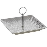 Silver Ceramic Cake Stand in Dimple effect