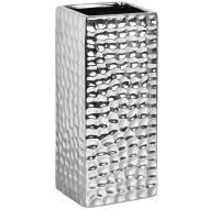 Square Silver Ceramic dimple effect Vase