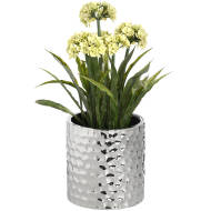 Silver Ceramic Planter in Dimple Effect