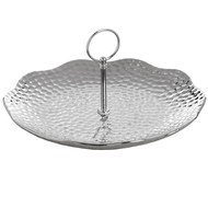 Silver Ceramic Round Cake Stand in Dimple Effect