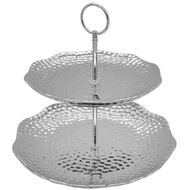 Silver Ceramic Round Two Tier Cake Stand in Dimple Effect