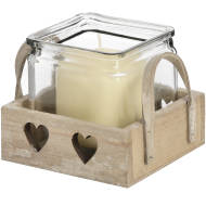 Wooden Heart Design Tea Light Holder