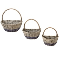 Set of 3 Semicircle Wicker Baskets