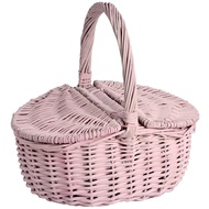 Pastel Pink Wicker Basket with Double Lid