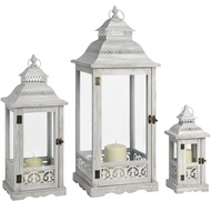 Set of 3 Grey wash Lanterns with Filigree Detail