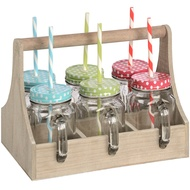Six colourful drinking jars in portable wooden tray