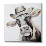 Cow in a Hat Oil Painting