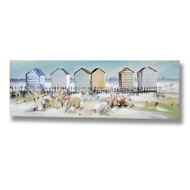 Beach Hut Scene Oil Painting