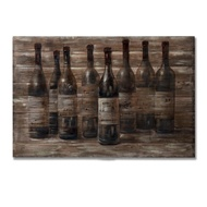 Wine on Wood Panel Effect Painting