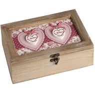 Wooden Tea Box With Two Hearts